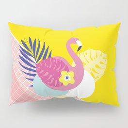 Pink Flamingo Summer Ice cream scoops #summervibes Pillow Sham
