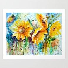 bouquet of sunflowers Art Print