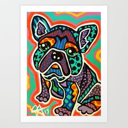 Eddie Designer Dog Puppy Pet Lover Owner Bright Colorful Bright French Bulldog Pug Terrier Fun   Art Print