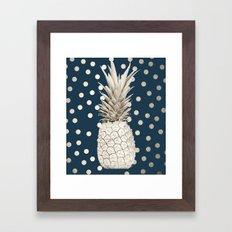 Gold Pineapple Polka Dots 2 Framed Art Print