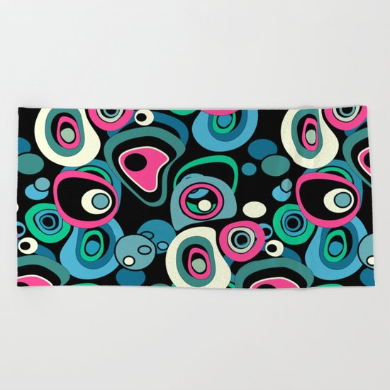 Abstract black and pink , turquoise polka dot pattern . Beach Towel