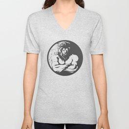 A lion man  fighter black and white Unisex V-Neck