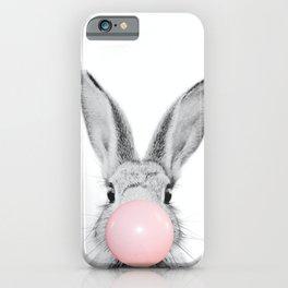 Rabbit Gum Print, Nursery Wall Art, Rabbit Poster, Bubblegum Art iPhone Case