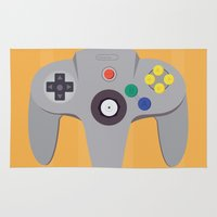 nintendo Area & Throw Rugs featuring Nintendo 64 by elpajaronegro