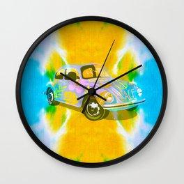 70s hippie peace and love tie die Beetle Wall Clock
