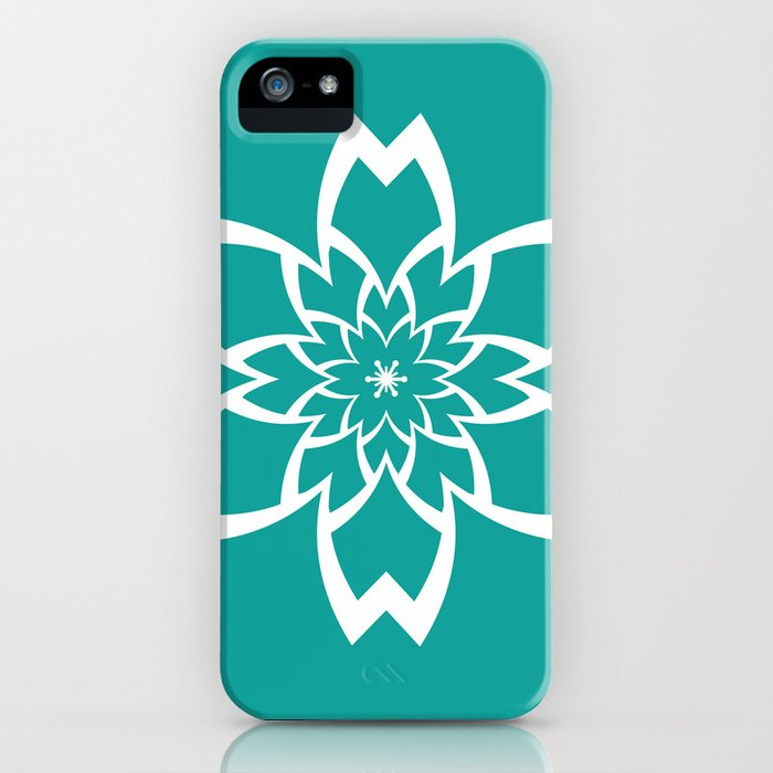 Teal Flower iPhone Case