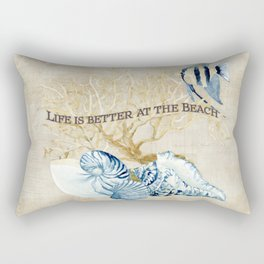 Indigo Ocean Sea Shells Angelfish Coral Watercolor Artwork Rectangular Pillow