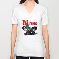 smiths V-neck T-shirts featuring The Smiths (white version) by BinaryGod.com
