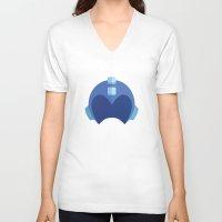 megaman V-neck T-shirts featuring Megaman Helmet by MarkandMarnie