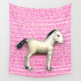 My little foal in a sea of pink Wall Tapestry