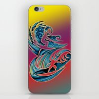surfing iPhone & iPod Skins featuring Surfing by A Laidig