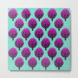 Cute Artichoke Pattern on Teal Background Metal Print