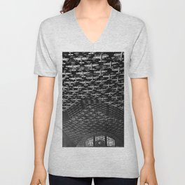 Union Train Station, Chicago, Illinois U.S. Air force Boeing B-17 Flying Fortress Ceiling Air force plane display black and white photograph Unisex V-Neck