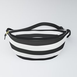 Midnight Black and White Stripes Fanny Pack