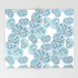Sea Grape Tropical Leaves Throw Blanket