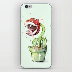 Piranha Plant Watercolor Geek Gaming Mario Art iPhone Skin