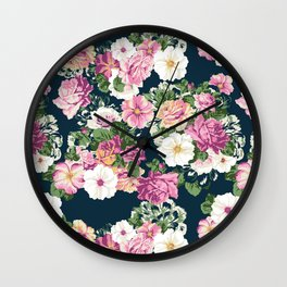 Roselyn Floral - Navy Wall Clock