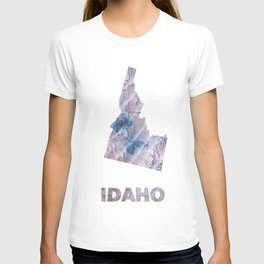 Idaho map outline Dark gray stained watercolor pattern T-shirt