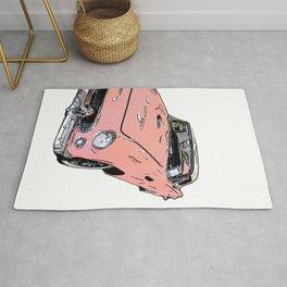 Pink Sports Car Automobile Art by Daniel MacGregor Rug