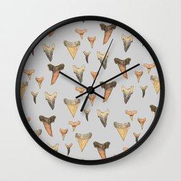 Shark Teeth Study - Grey Wall Clock