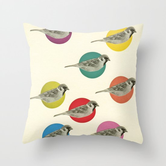 Gathering Sparrows Throw Pillow