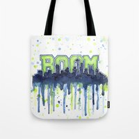 seahawks Tote Bags featuring Seattle 12th Man Seahawks Painting Legion of Boom Art by Olechka