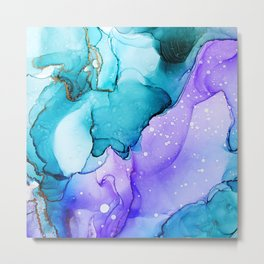 Blue and purple alcohol ink art Metal Print