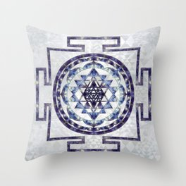 Sri Yantra  / Sri Chakra Gemstone and pearl Throw Pillow