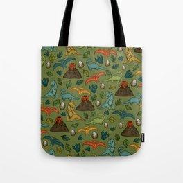 Dinosaur Print, Dino, Jurassic, Jurassic Art, Volcanos, T-Rex, Green Tote Bag