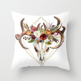Boho flowers bull skull geometric design Throw Pillow
