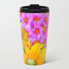 BLUE COLOR PINK-YELLOW FLOWER GARDEN ART Travel Mug