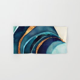 Abstract Blue with Gold Hand & Bath Towel
