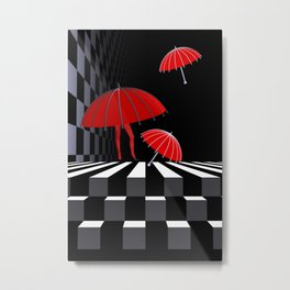 when the umbrellas learned walking Metal Print