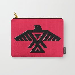 Thunderbird, Emblem of the Anishinaabe people - Black on Red Carry-All Pouch