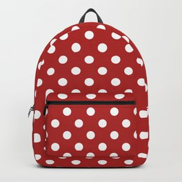 Small Polka Dots - White on Firebrick Red Backpack