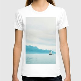 Modern Minimalist Landscape Ocean Pastel Blue Mountains With White Sail Boat T-shirt
