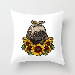 Cute Sloth Gift Sunflower Decor Throw Pillow