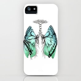 Butterfly Lungs Blue Green iPhone Case