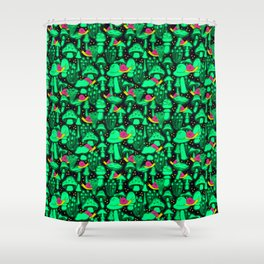 Glow Shrooms Shower Curtain