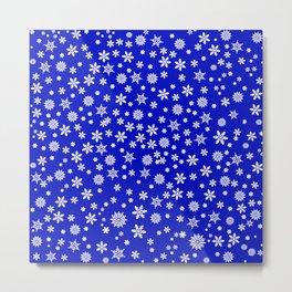 Snowflakes on Dark Blue Metal Print