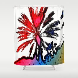 Fiery Palm Shower Curtain