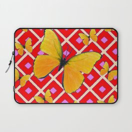 Yellow Butterflies on Red Patterned Art Laptop Sleeve