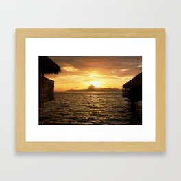 Tahiti Sunset with Kayakers over Water Framed Art Print