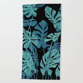 Graphic Monstera leaves. Beach Towel