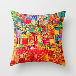 PAINTING THE SOUL - Vibrant Collage Mixed Abstract Acrylic Watercolor Painting Rainbow Colorful Art Throw Pillow