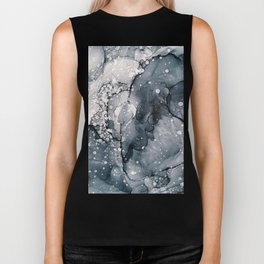 Icy Payne's Grey Abstract Bubble / Snow Painting Biker Tank
