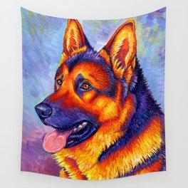 Colorful German Shepherd Dog Wall Tapestry