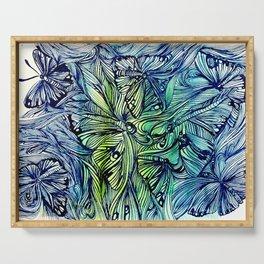 Blue Pen & Ink Butterflies Serving Tray
