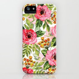 Loose Watercolor & Ink Floral Pattern In Pink, Green, Yellow & Orange iPhone Case