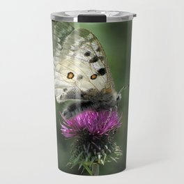 Butterfly on Thistle Flower Travel Mug